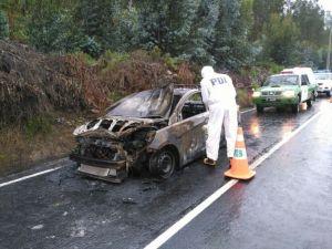Encontraron cadáver en La Serena y a sólo 10 kilómetros un auto calcinado