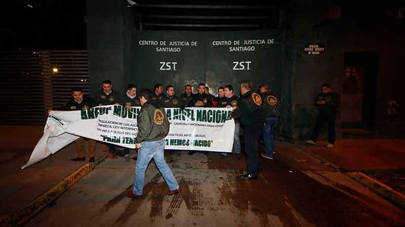 Gendarmes realizaron una nueva manifestación y bloquearon el ingreso al Centro de Justicia
