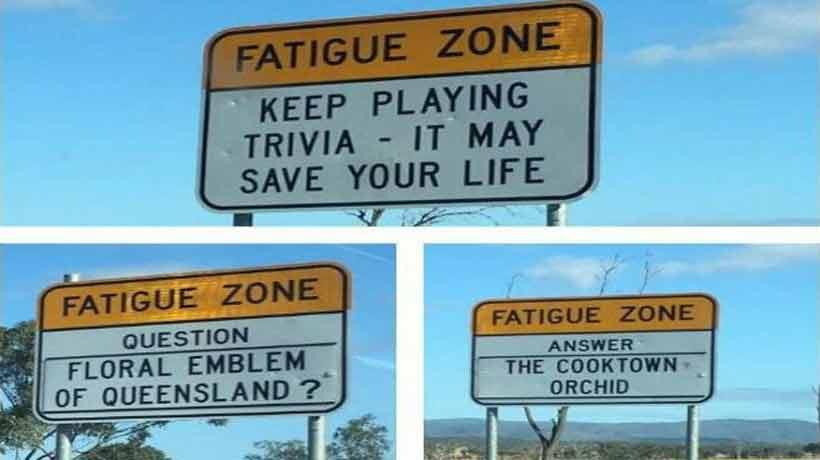 En Australia instalan preguntas de trivia en la carretera para mantener despiertos a los conductores