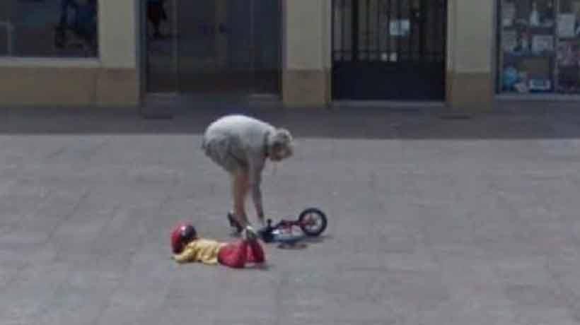 Buscó en Google Maps y se encontró con un accidente que involucró a un niño y a su bicicleta
