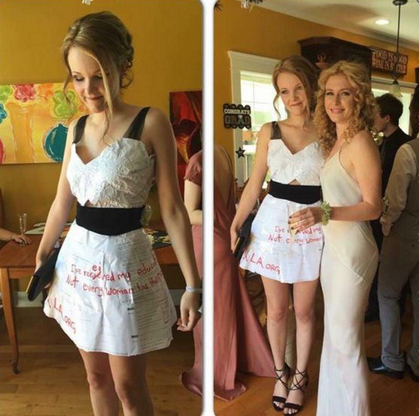 e04e20512 Erinne Paisley el día de su fiesta de graduación usando el vestido que ella  misma hizo con sus tareas de matemáticas. (Twitter)
